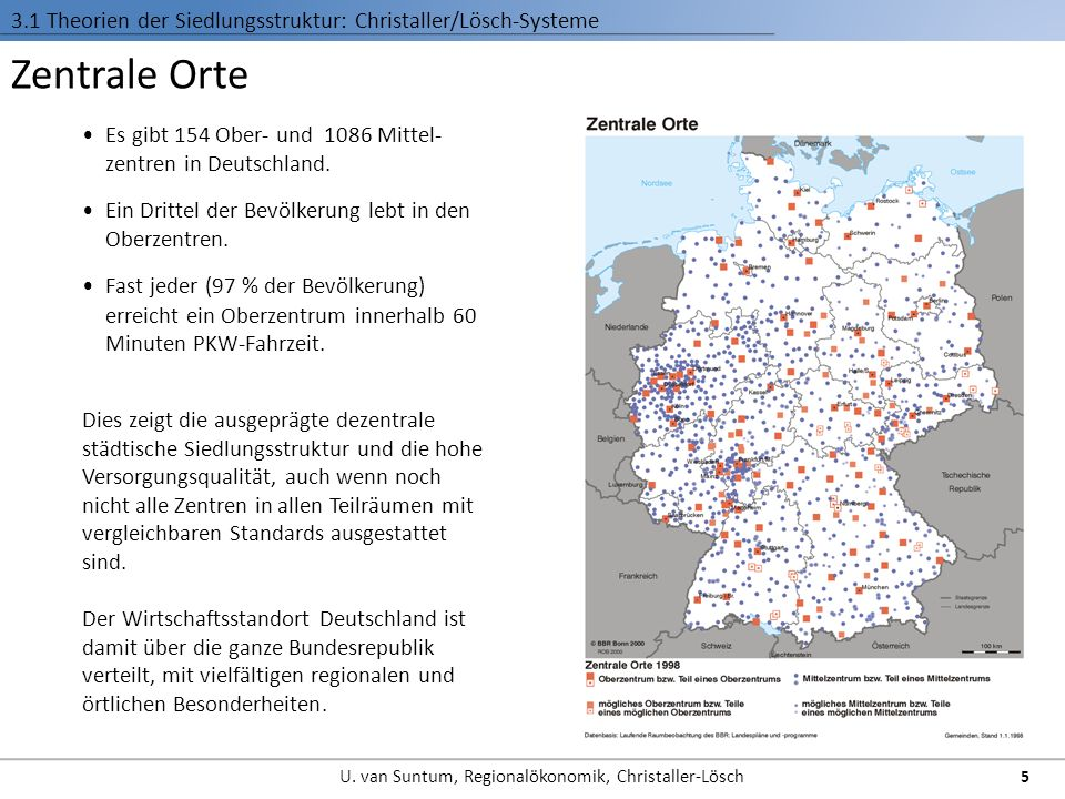 3.1 Theorien der Siedlungsstruktur: Christaller/Lösch-Systeme