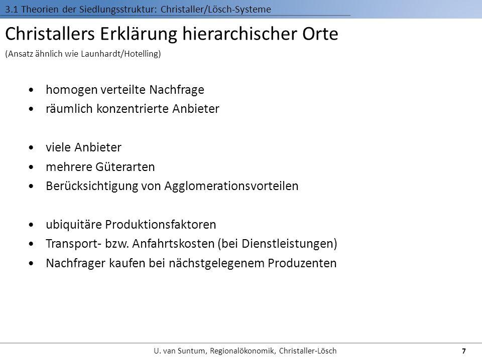 Christallers Erklärung hierarchischer Orte