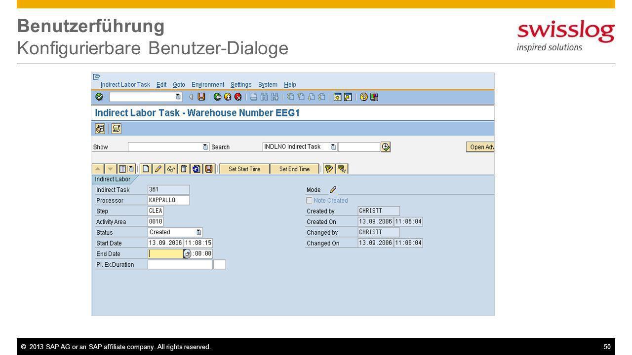 Benutzerführung Konfigurierbare Benutzer-Dialoge
