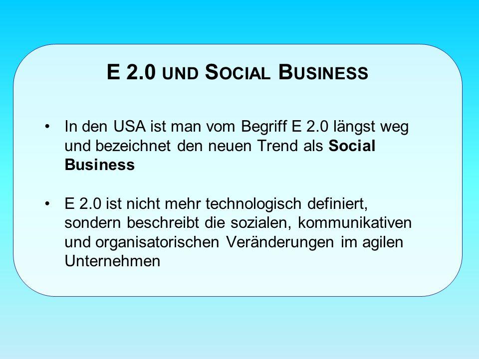 E 2.0 und Social Business In den USA ist man vom Begriff E 2.0 längst weg und bezeichnet den neuen Trend als Social Business.