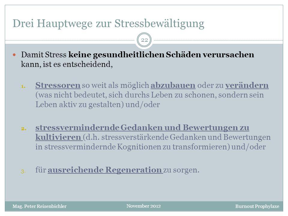 Drei Hauptwege zur Stressbewältigung