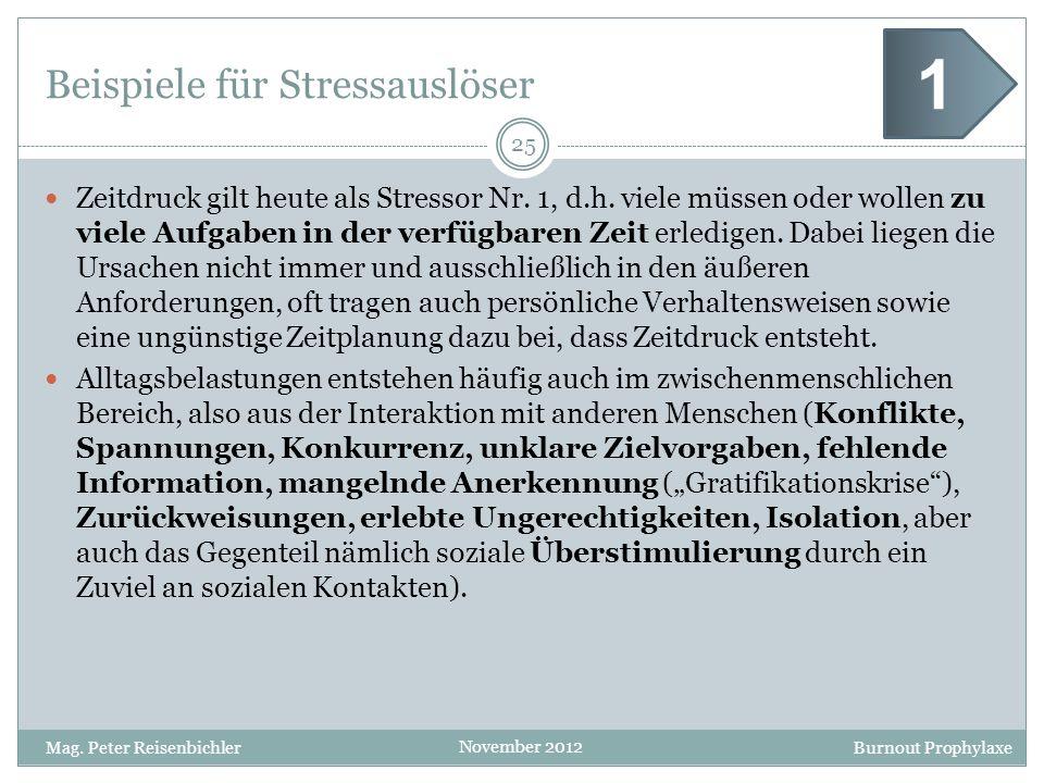 Beispiele für Stressauslöser