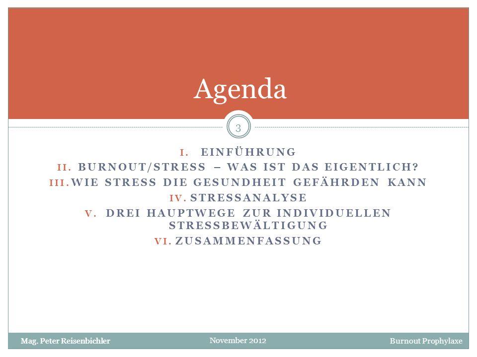 Agenda EINFÜHRUNG Burnout/Stress – Was ist das eigentlich
