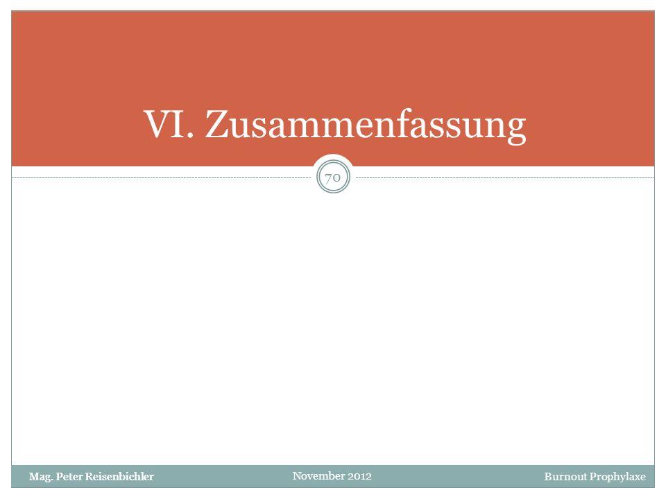 VI. Zusammenfassung Mag. Peter Reisenbichler
