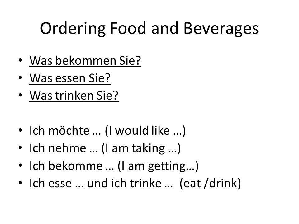 Ordering Food and Beverages