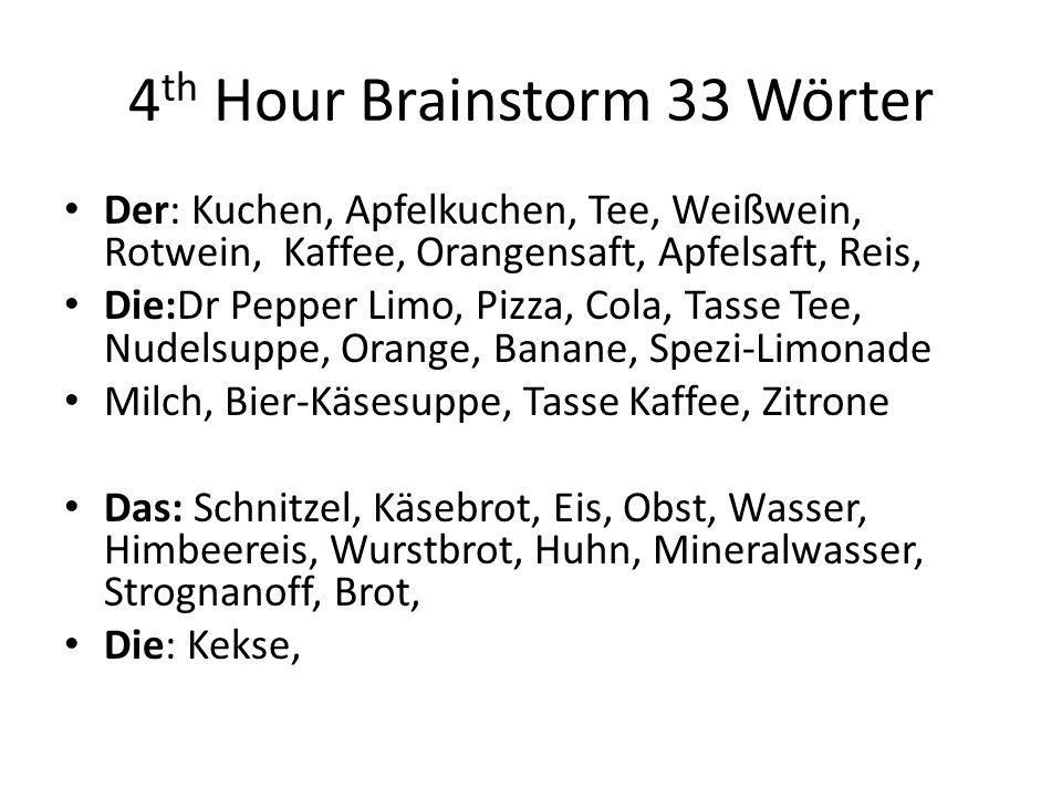 4th Hour Brainstorm 33 Wörter