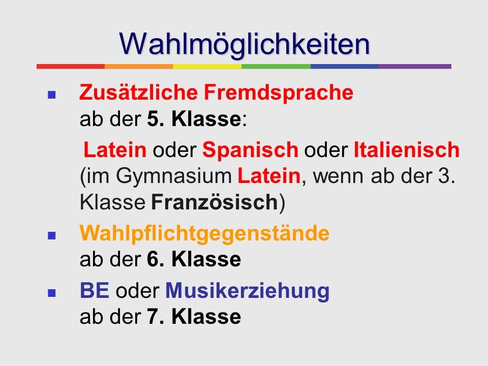 Wahlmöglichkeiten Zusätzliche Fremdsprache ab der 5. Klasse: