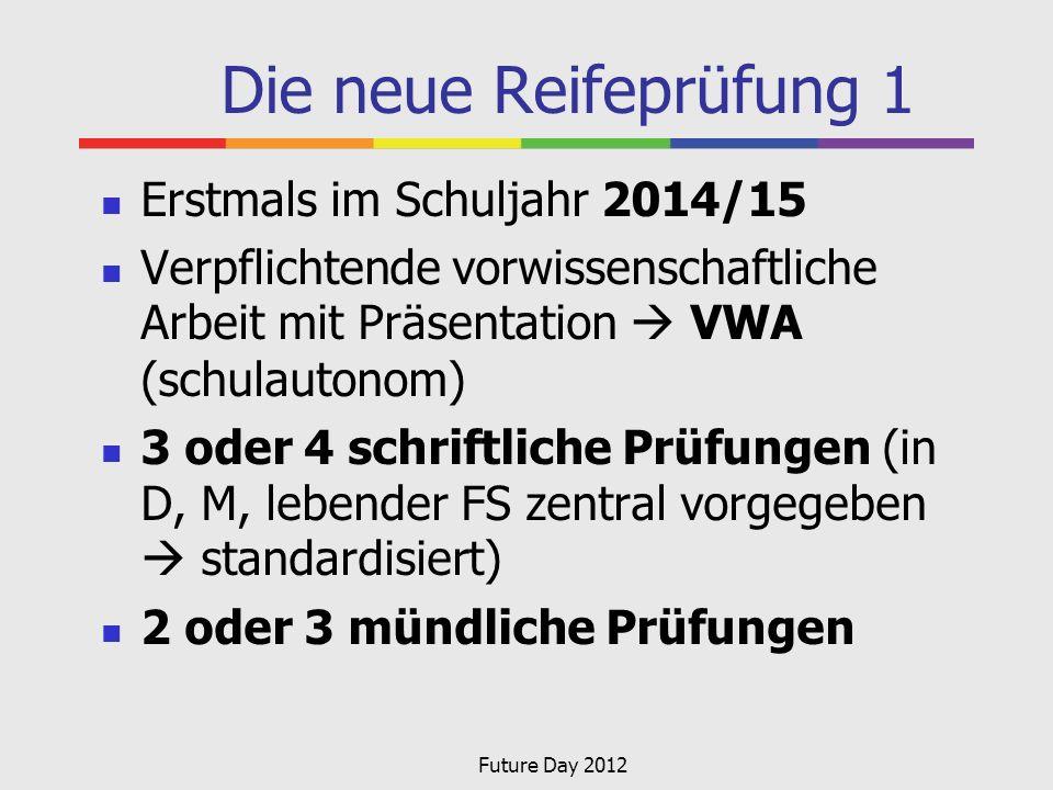 Die neue Reifeprüfung 1 Erstmals im Schuljahr 2014/15