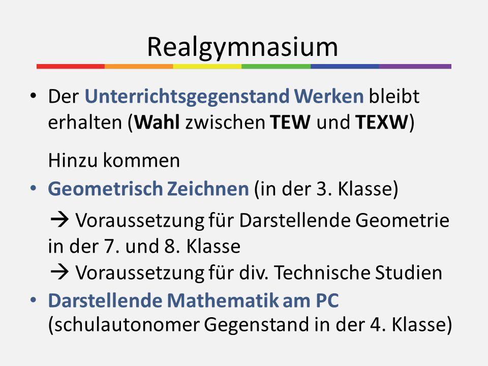 Realgymnasium Der Unterrichtsgegenstand Werken bleibt erhalten (Wahl zwischen TEW und TEXW) Hinzu kommen.