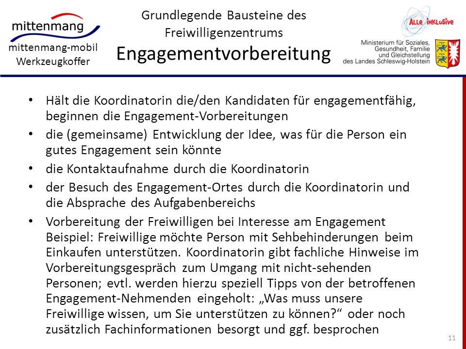 Grundlegende Bausteine des Freiwilligenzentrums Engagementvorbereitung