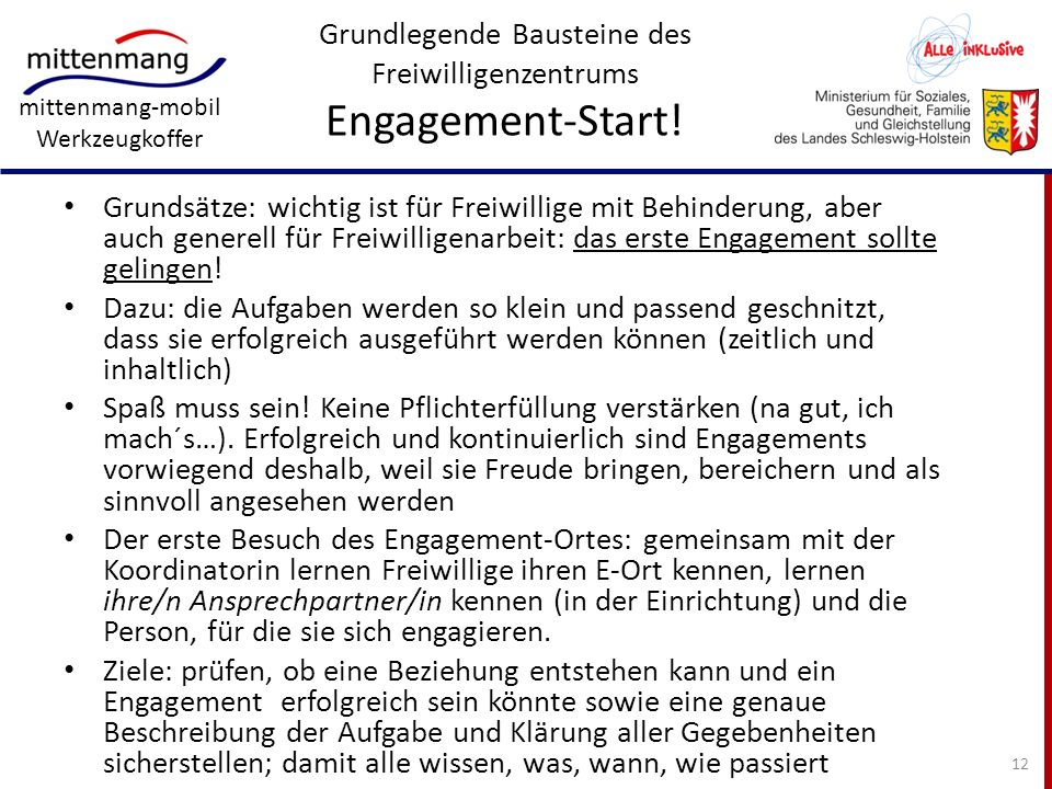 Grundlegende Bausteine des Freiwilligenzentrums Engagement-Start!