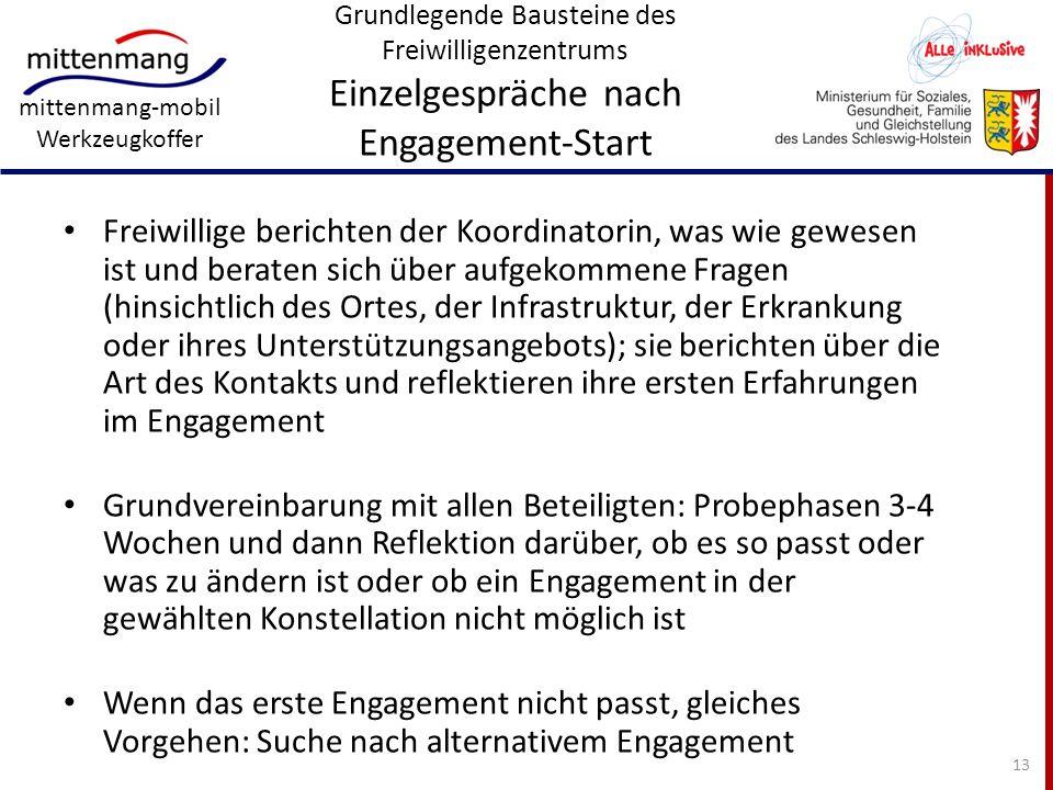Grundlegende Bausteine des Freiwilligenzentrums Einzelgespräche nach Engagement-Start