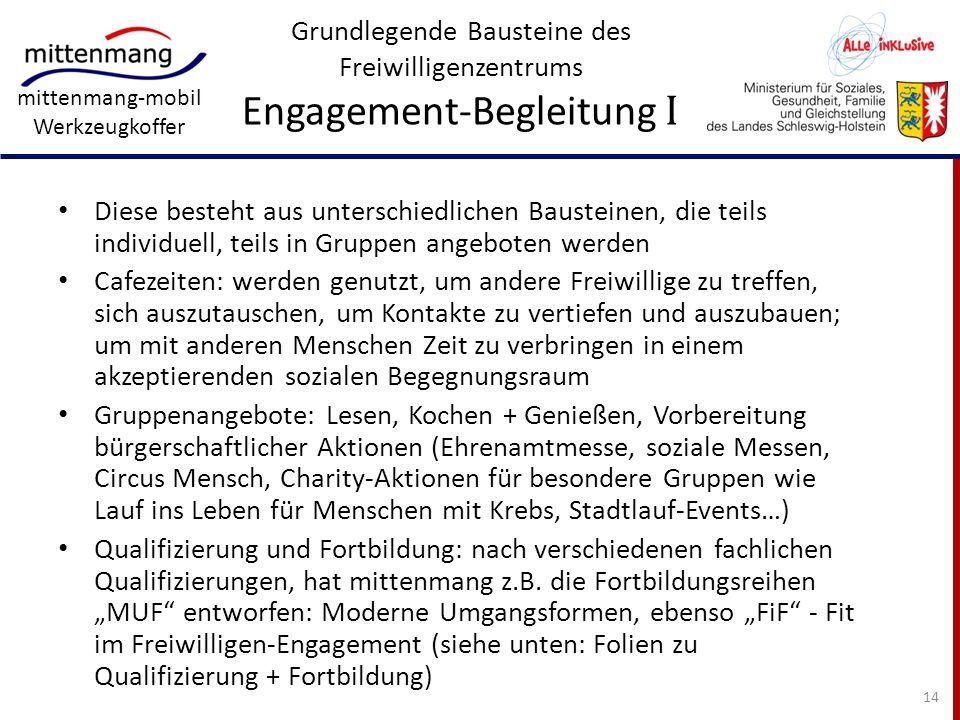 Grundlegende Bausteine des Freiwilligenzentrums Engagement-Begleitung I