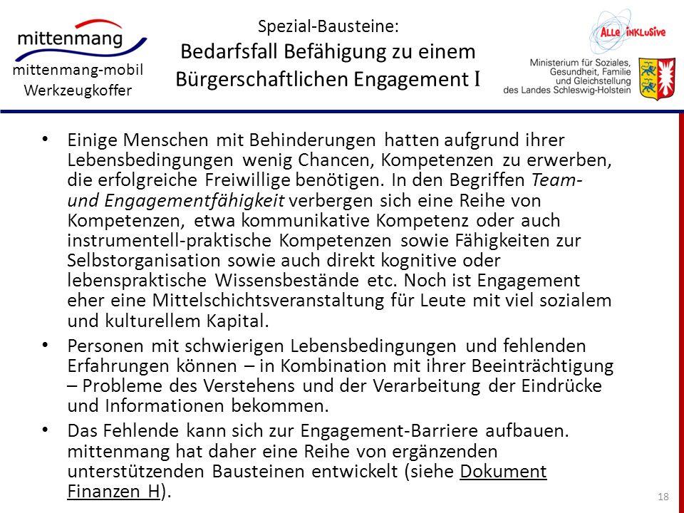 Spezial-Bausteine: Bedarfsfall Befähigung zu einem Bürgerschaftlichen Engagement I