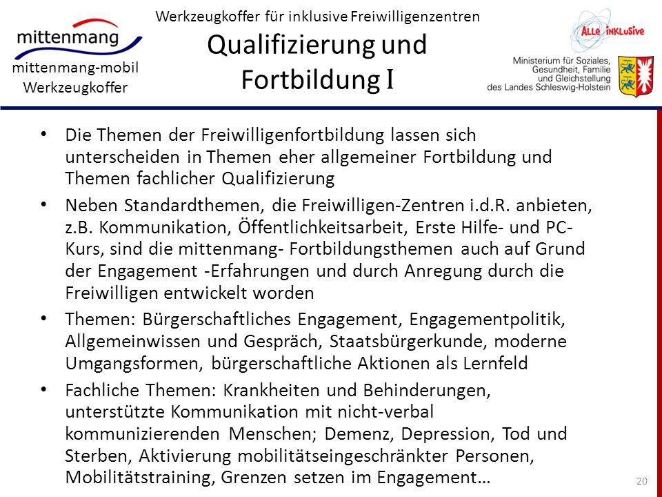 Werkzeugkoffer für inklusive Freiwilligenzentren Qualifizierung und Fortbildung I