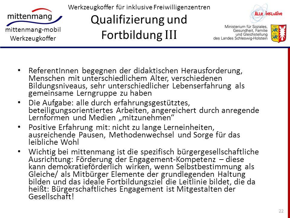 Werkzeugkoffer für inklusive Freiwilligenzentren Qualifizierung und Fortbildung III