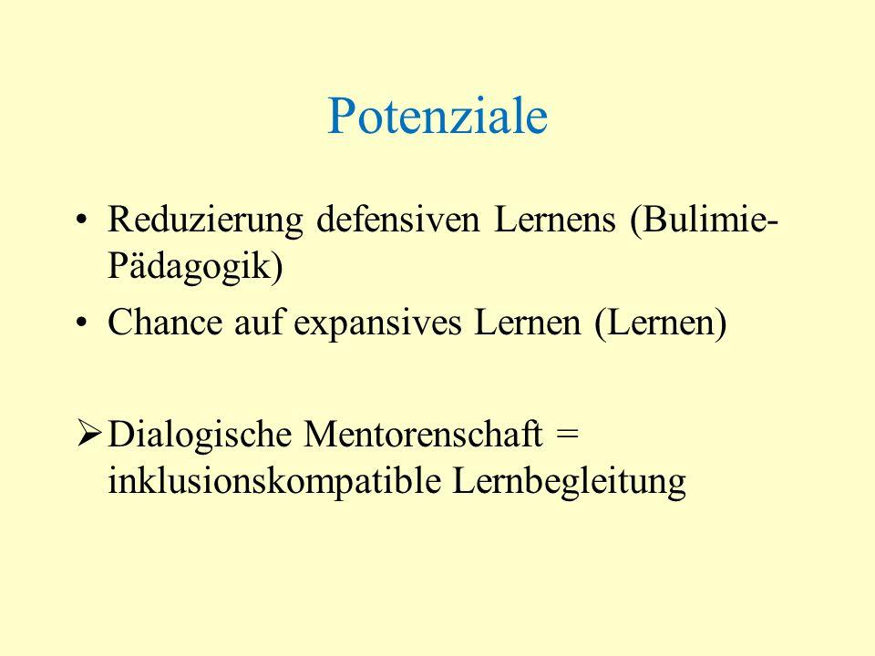 Potenziale Reduzierung defensiven Lernens (Bulimie-Pädagogik)