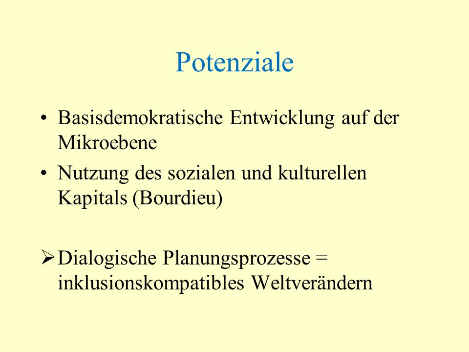Potenziale Basisdemokratische Entwicklung auf der Mikroebene