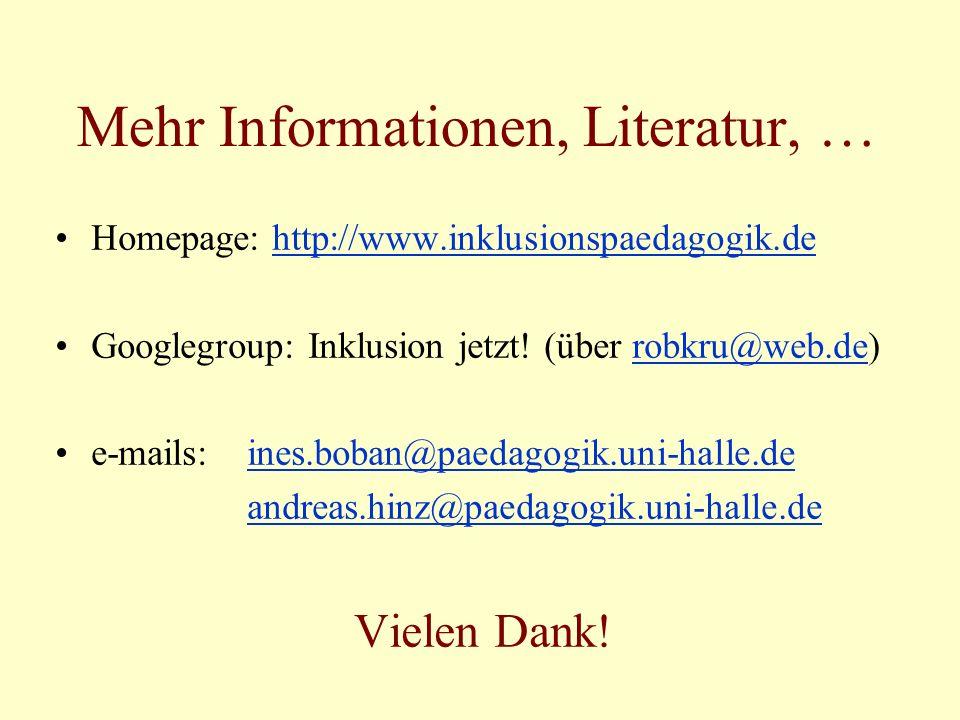 Mehr Informationen, Literatur, …