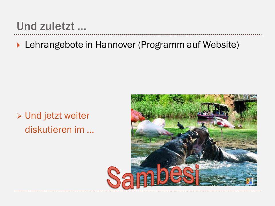 Sambesi Und zuletzt … Lehrangebote in Hannover (Programm auf Website)