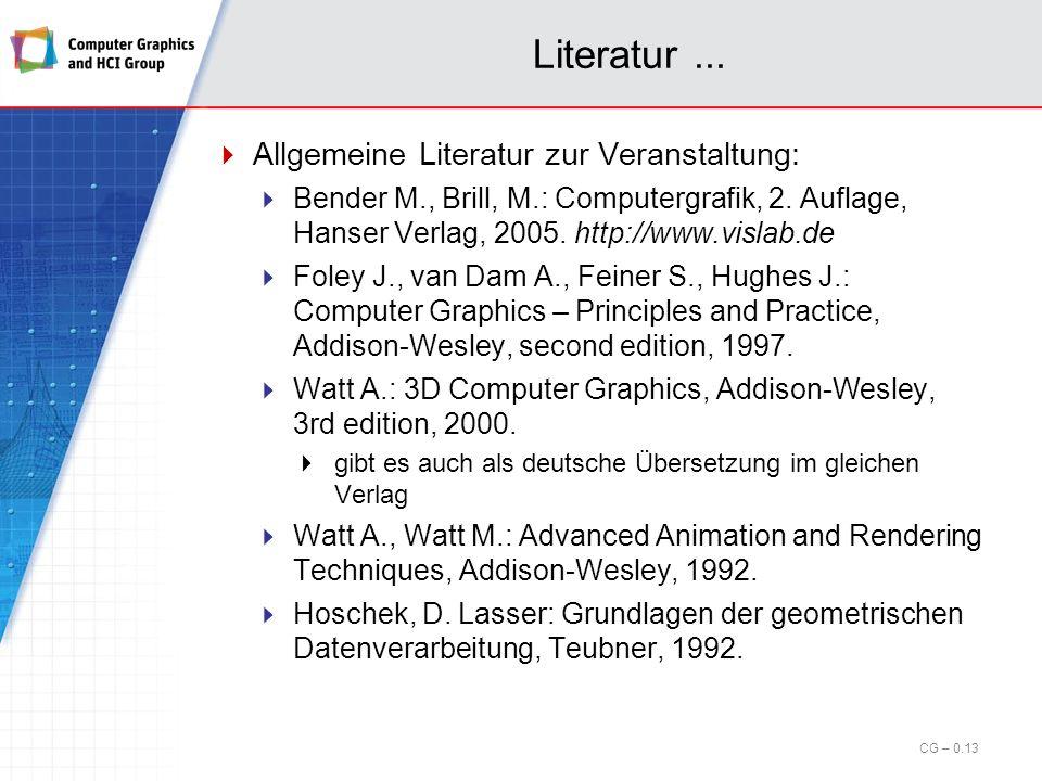 Literatur ... Allgemeine Literatur zur Veranstaltung: