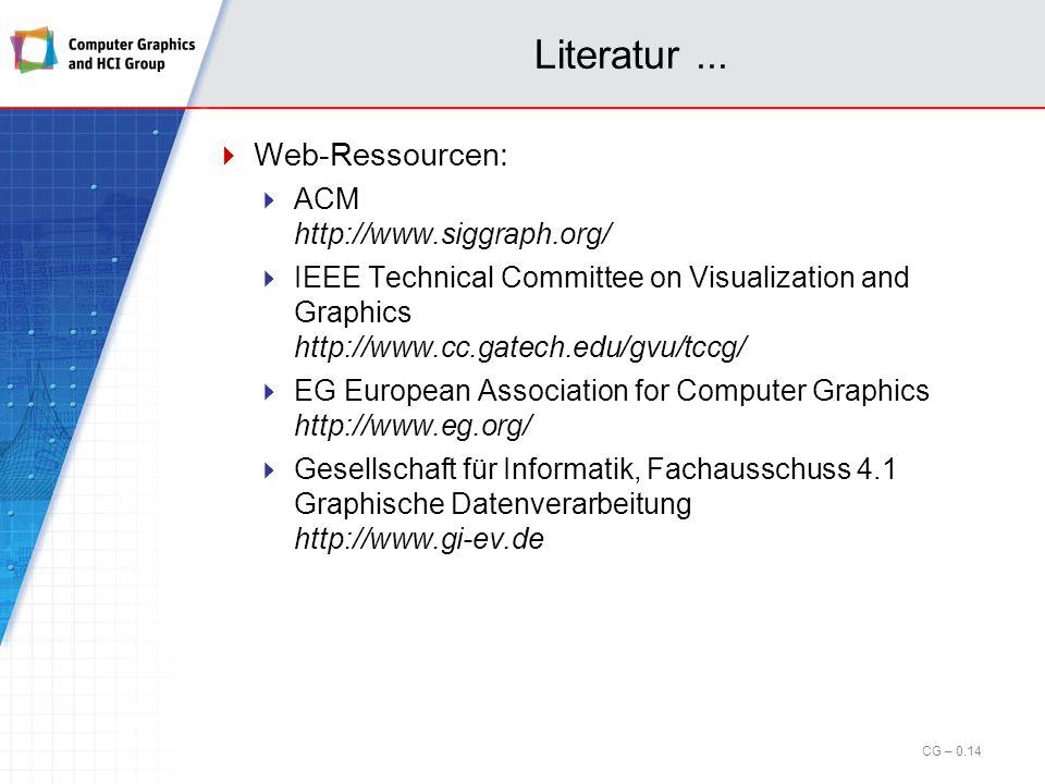 Literatur ... Web-Ressourcen: ACM http://www.siggraph.org/