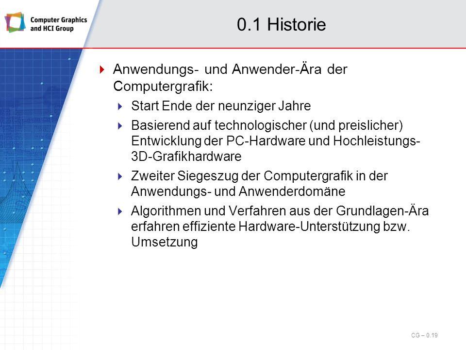 0.1 Historie Anwendungs- und Anwender-Ära der Computergrafik: