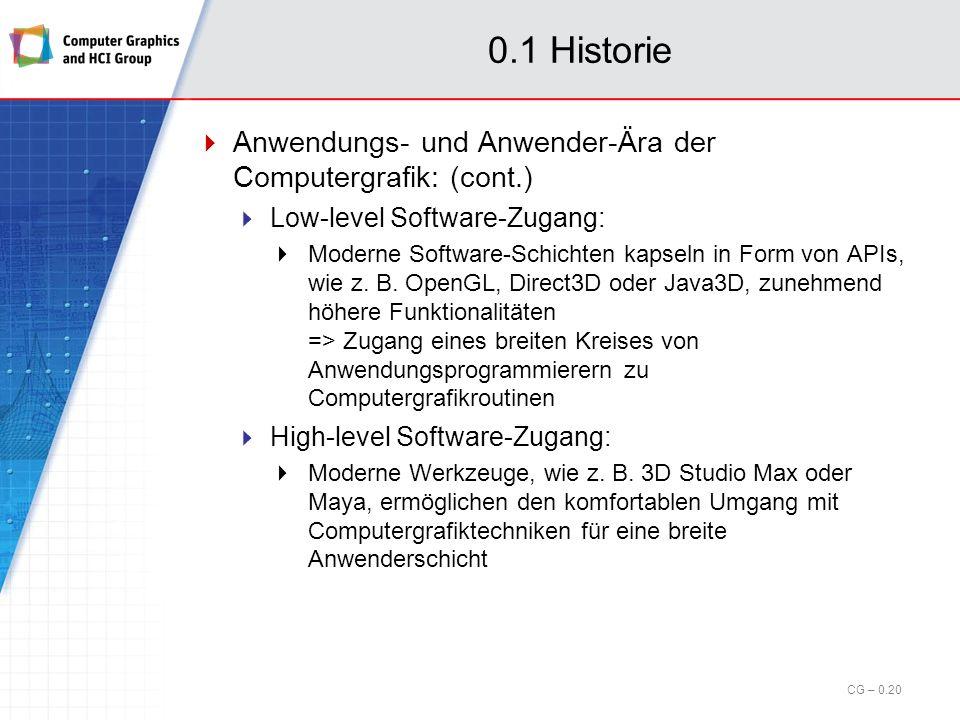 0.1 Historie Anwendungs- und Anwender-Ära der Computergrafik: (cont.)