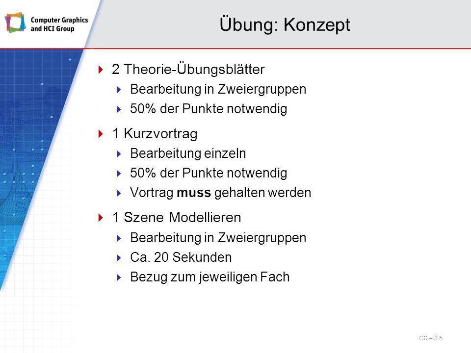 Übung: Konzept 2 Theorie-Übungsblätter 1 Kurzvortrag
