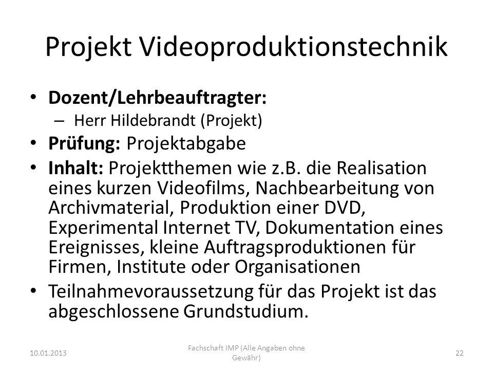 Projekt Videoproduktionstechnik