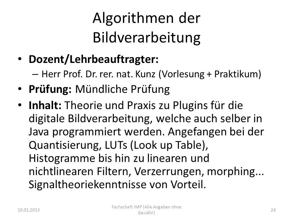 Algorithmen der Bildverarbeitung
