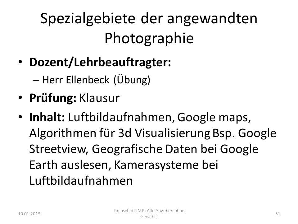 Spezialgebiete der angewandten Photographie