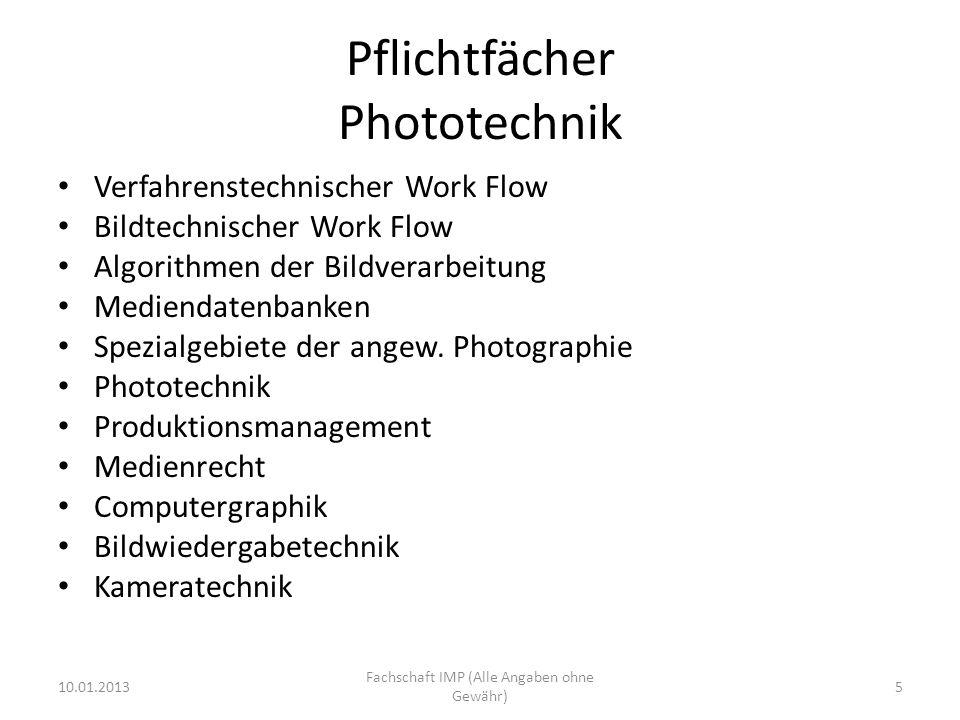 Pflichtfächer Phototechnik