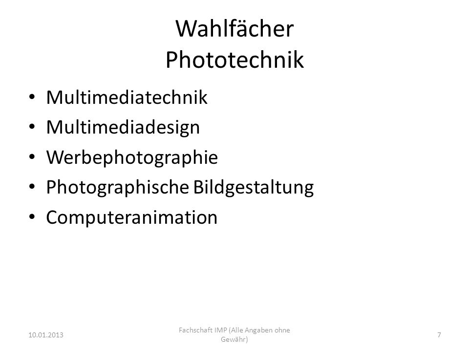 Wahlfächer Phototechnik