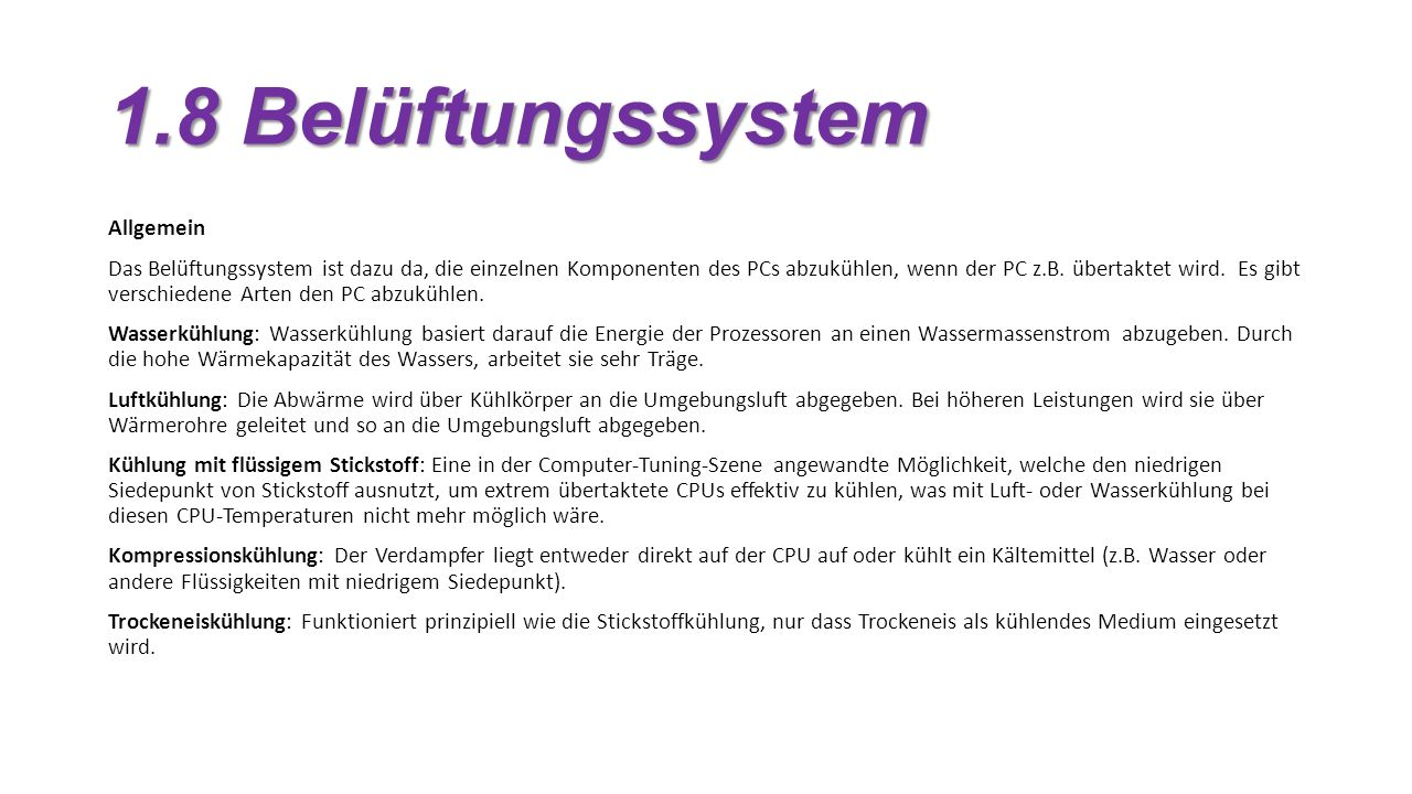 1.8 Belüftungssystem