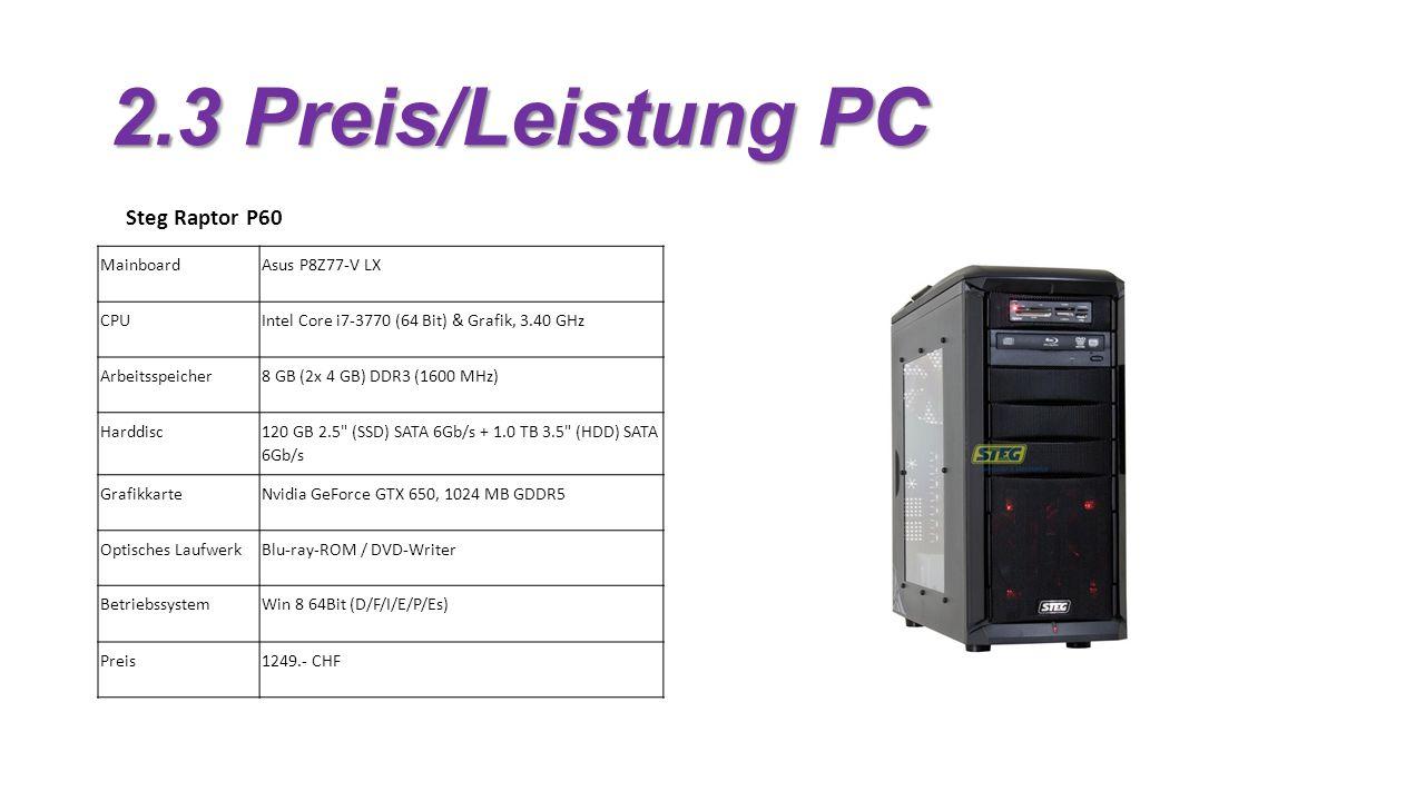 2.3 Preis/Leistung PC Steg Raptor P60 Mainboard Asus P8Z77-V LX CPU