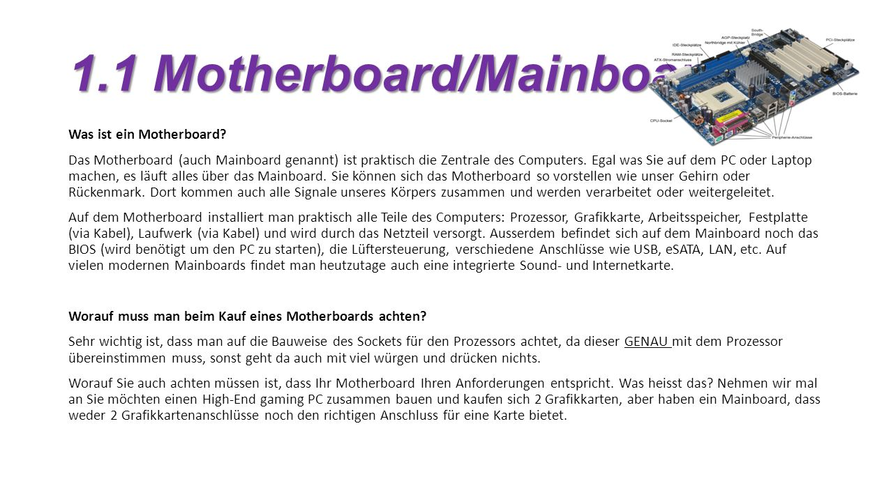1.1 Motherboard/Mainboard