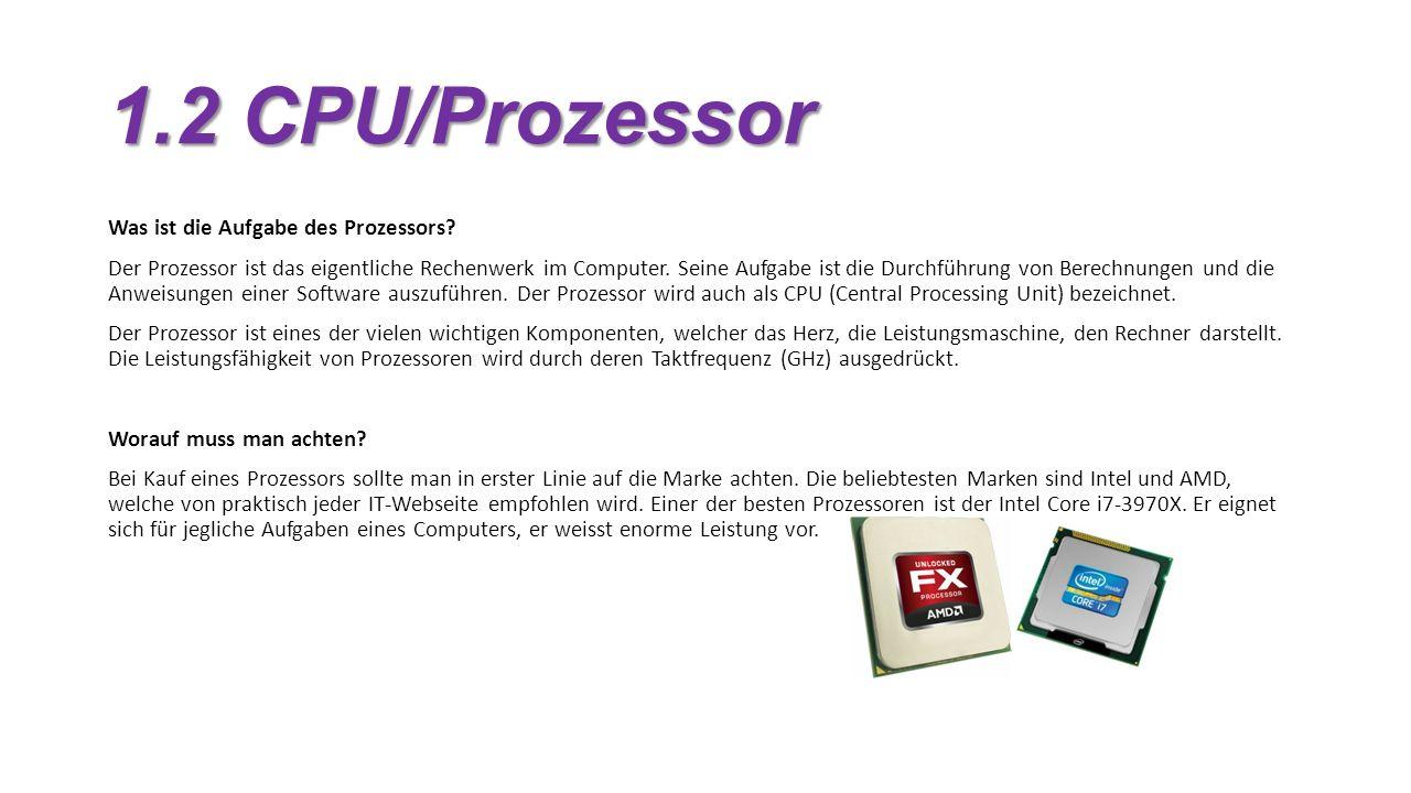 1.2 CPU/Prozessor