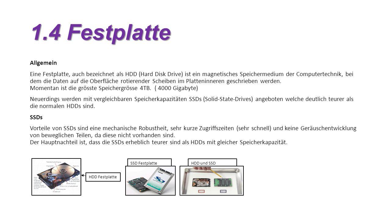 1.4 Festplatte Allgemein.