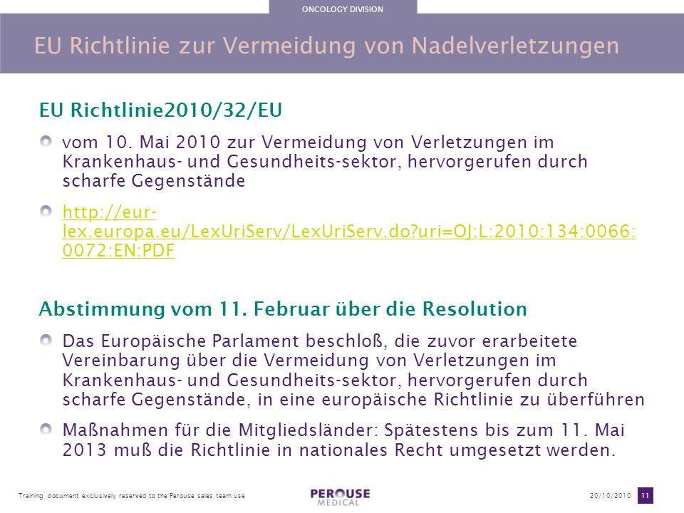 EU Richtlinie zur Vermeidung von Nadelverletzungen