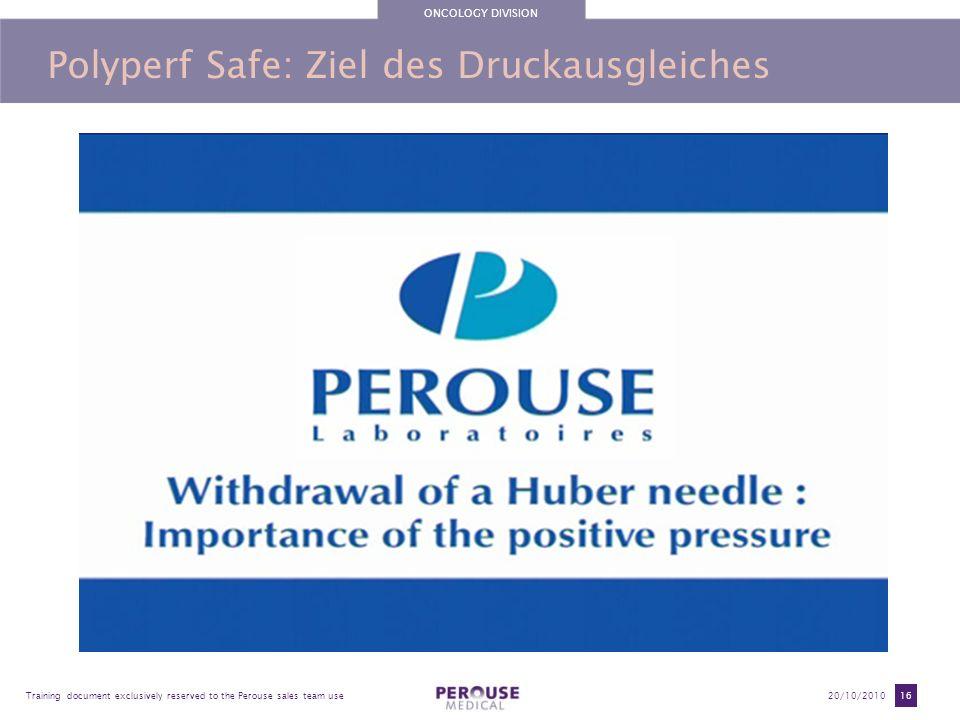 Polyperf Safe: Ziel des Druckausgleiches