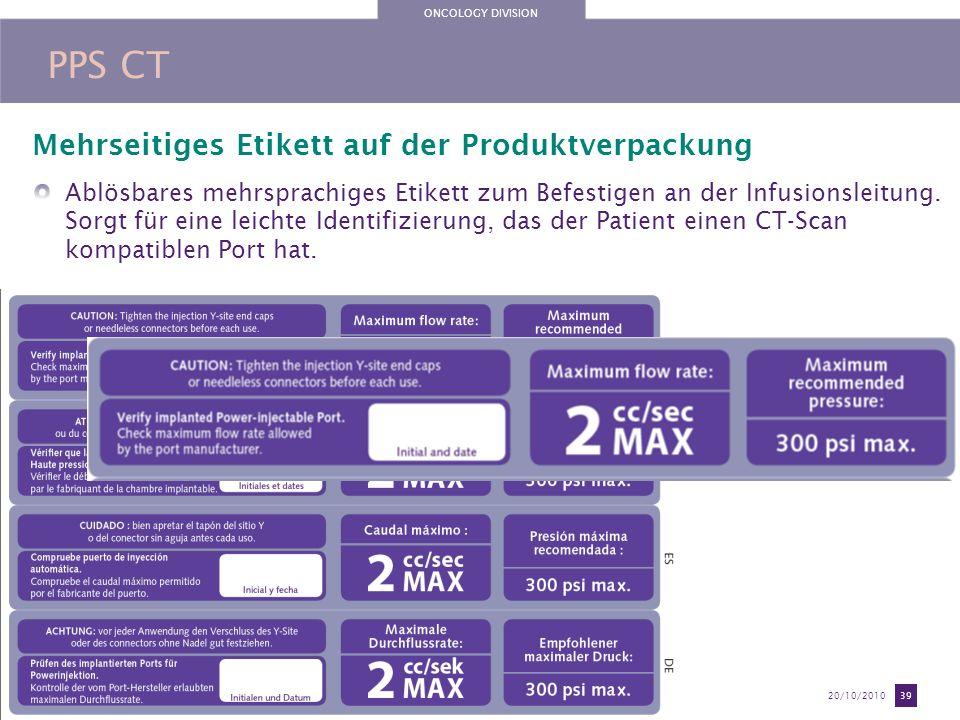 PPS CT Mehrseitiges Etikett auf der Produktverpackung