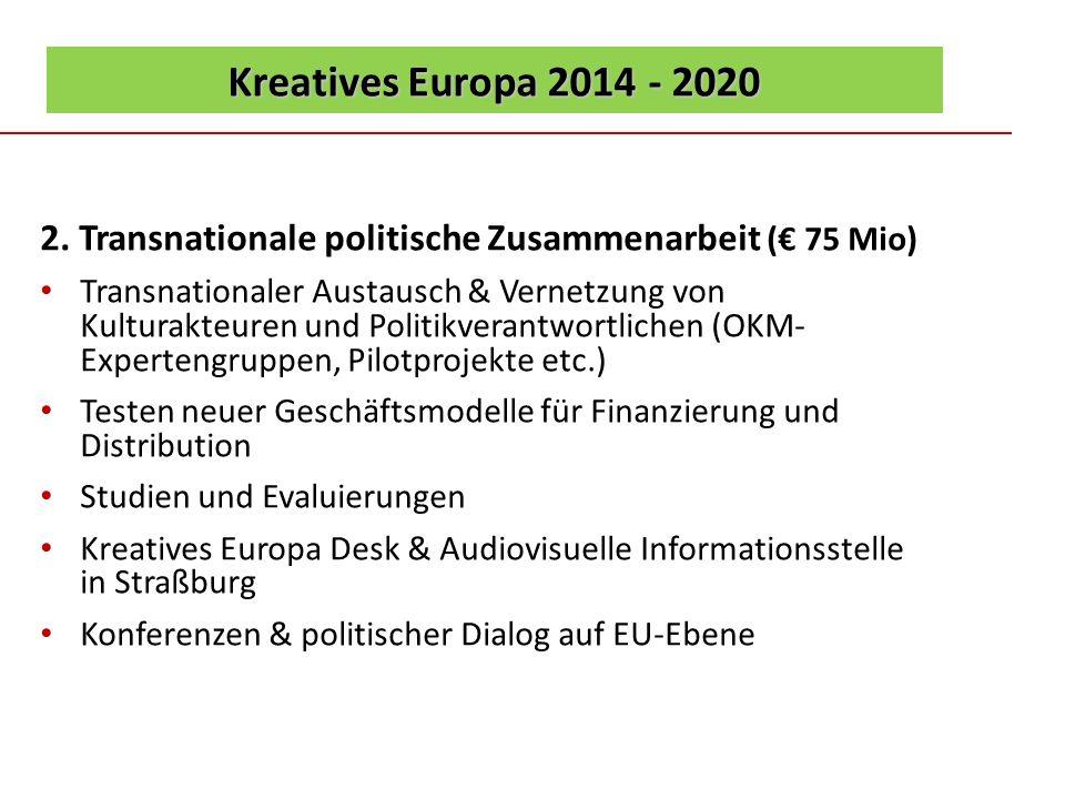 Kreatives Europa 2014 - 2020 2. Transnationale politische Zusammenarbeit (€ 75 Mio)