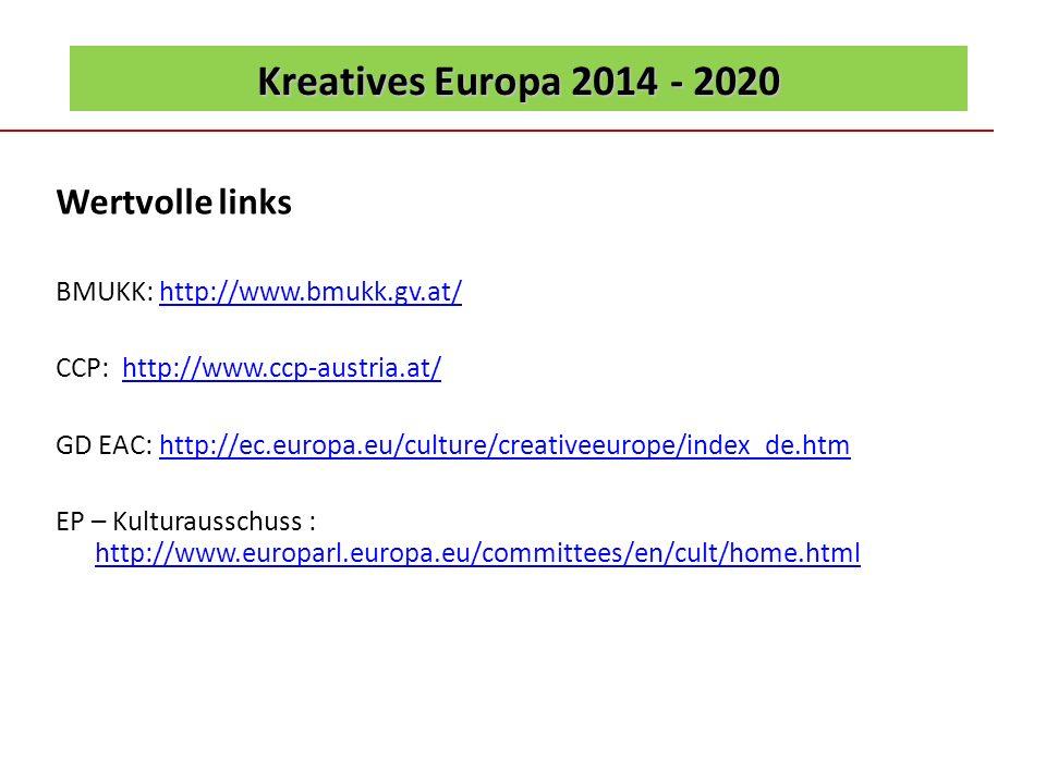 Wertvolle links Kreatives Europa 2014 - 2020