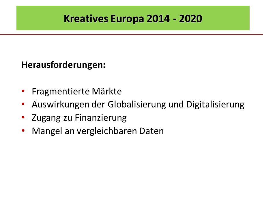 Kreatives Europa 2014 - 2020 Herausforderungen: Fragmentierte Märkte