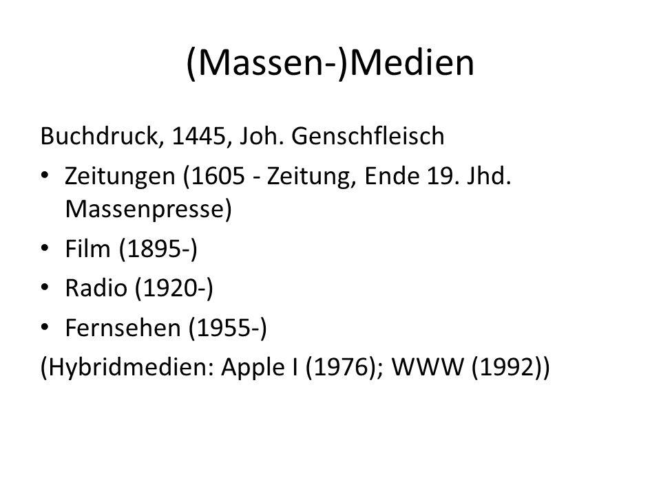 (Massen-)Medien Buchdruck, 1445, Joh. Genschfleisch