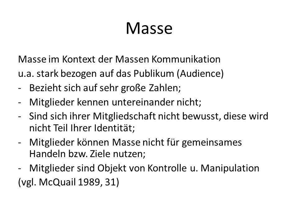 Masse Masse im Kontext der Massen Kommunikation