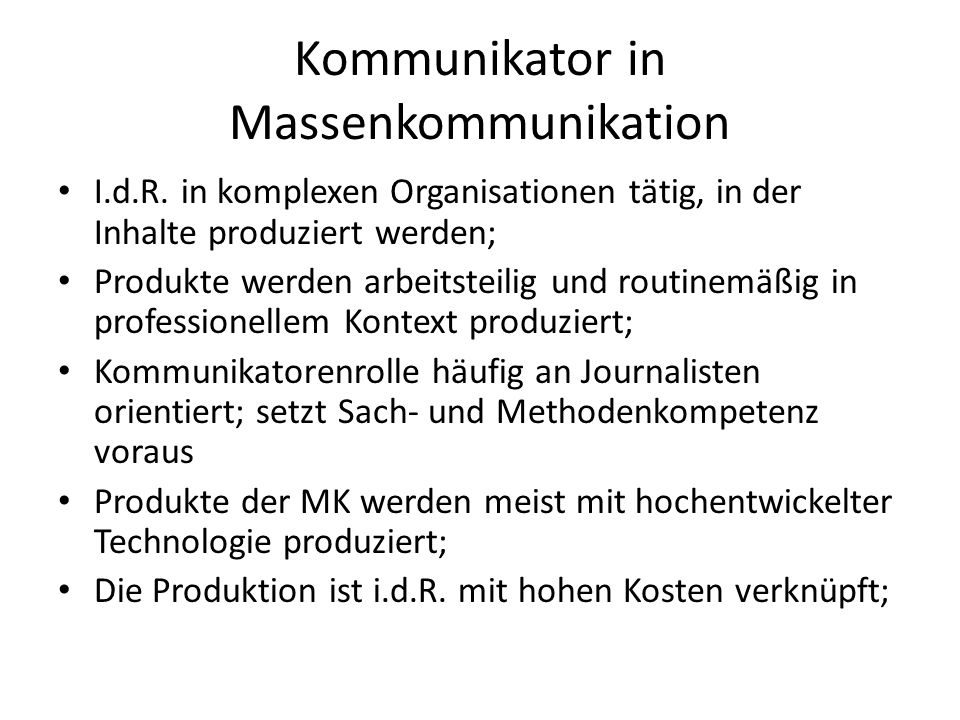 Kommunikator in Massenkommunikation