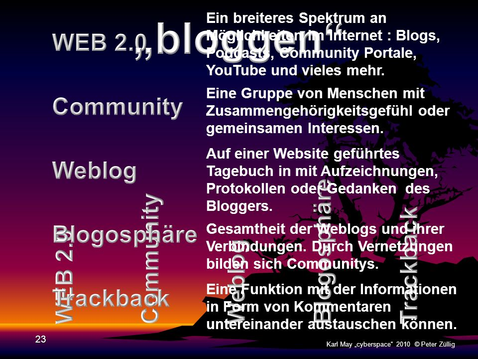 """bloggen WEB 2.0 Community Weblog Blogosphäre Blogosphäre Community"