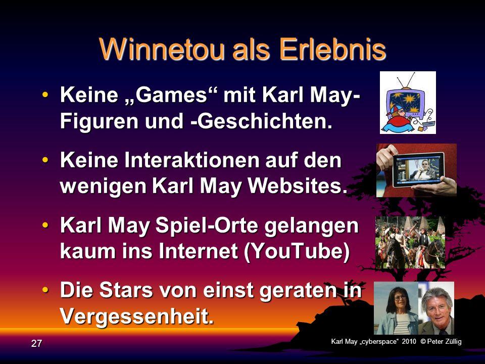 """Winnetou als Erlebnis Keine """"Games mit Karl May- Figuren und -Geschichten. Keine Interaktionen auf den wenigen Karl May Websites."""